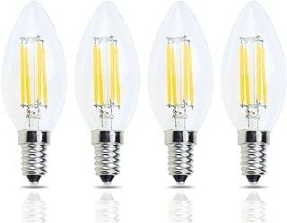 Lamsky E14 Base LED Filament Candle Shape Light Bulb,E14 European Base Bulb,Warm White 2700K 400LM 40W Equivalent,C35 Clear Glass Torpedo Shape Bullet Top,No-Dimmable (4-Pack)