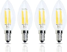 Daylight 6000K E14 Light Bulb,E14 LED Bulbs Refrigerator Bulb Dimmable C35 Chandelier Light Bulbs E14 European Base Bulbs,400LM 20W 40W Equivalent,25 Watt C35 LED Candle Lighting