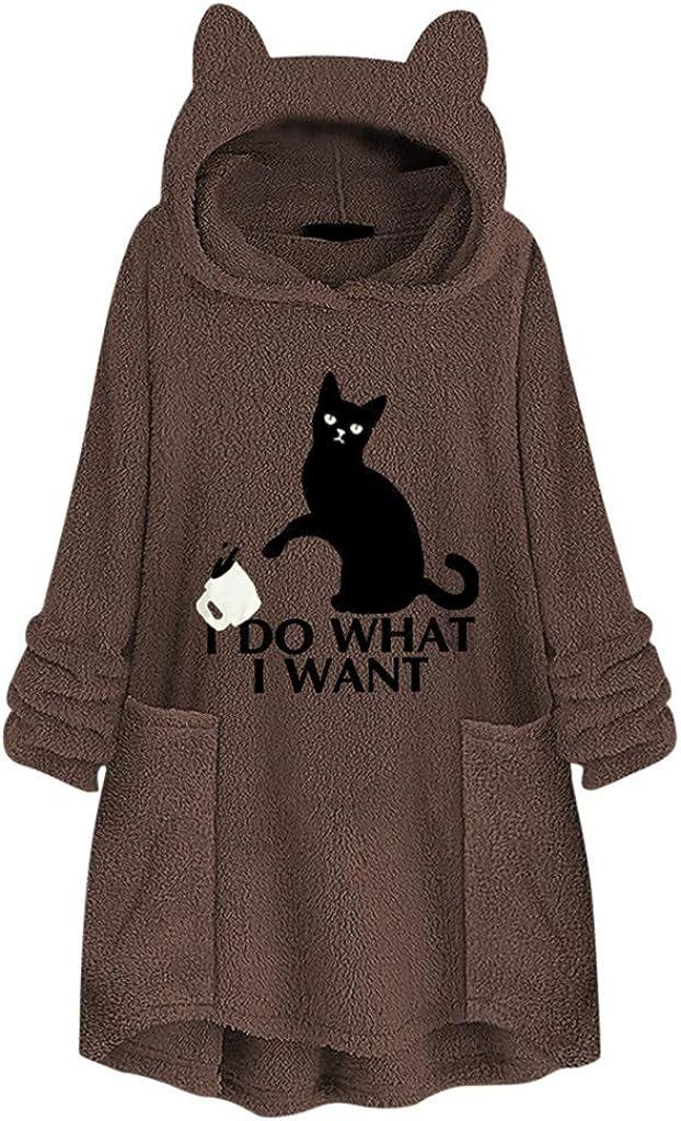 Women Teens Faux Fleece Embroidery Cat Ear Plus Size Hoodie Pullover Sweater S-5XL