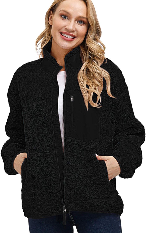 Kisscynest Women's Full Zip Fleece Jacket Stand Collar Fuzzy Fluffy Warm Winter Sherpa Coat