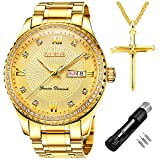 OLEVS Luxury Diamond Gold Watches for Men Big Face Dial Luminous Day Date Calendar,Male Business Casual Dress Stainless Steel Quartz Analog Wrist Watch Waterproof 3ATM Gifts Golden
