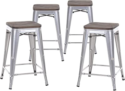 Amazon Com Lch 24 Quot Metal Industrial Backless Bar Stools