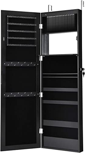 2021 Giantex sale 15 LEDs Jewelry Cabinet Wall Door Mounted, Lockable Jewelry Armoire with Full Length Mirror, Cosmetics Tray, Lipstick Brush Holders, Build-in Makeup Mirror, popular Jewelry Cabinet for Women Girls (Black) sale