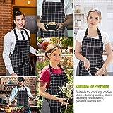RenFox Schürze, Wasserdicht Kochschürze mit Taschen,Verstellbarem Küchenschürze in Profiqualität,Grillschürze,latzschürze,Küchenschürze (Schwarz-Weiß-Gitter) - 5
