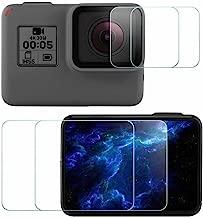 Komet Glass Screen Protector Foils Compatible for GoPro Hero 7 / Hero 6 / Hero 5 / Hero Lens & LCD Screen, Tempered Glass Film Anti-Bubble Anti-Scratch Anti-Finger for hero5 hero6 hero7 (4 Pack)