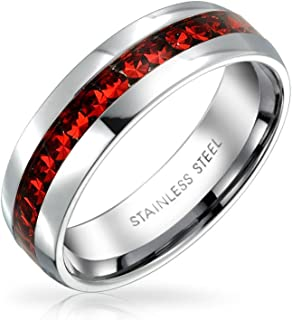 Red Crystal Channel Set Eternity Band Ring for Women Stainless Steel 6mm