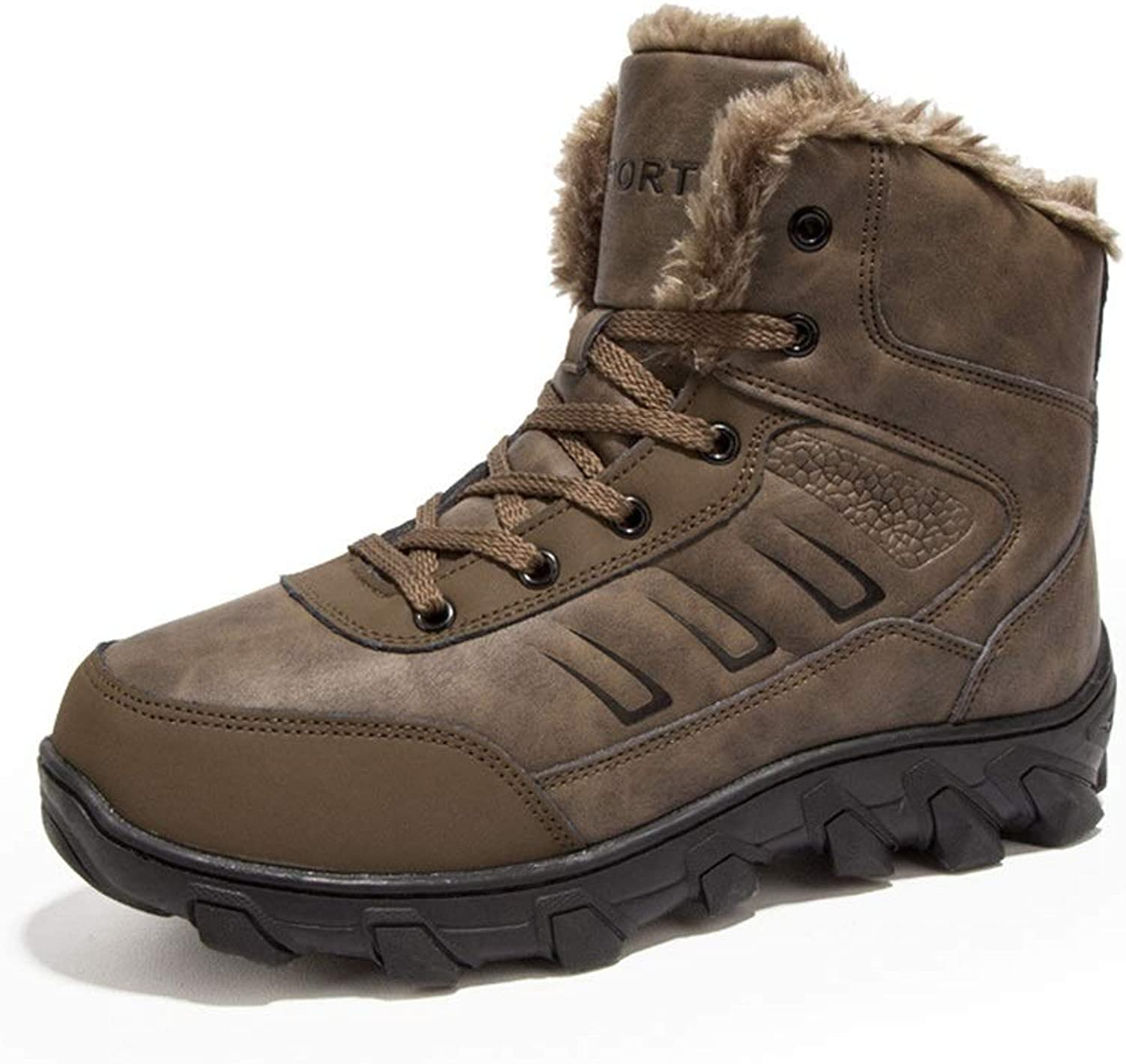Men's Leather Boots, Martin Boots Europe and The United States Trend Comfort High-Top Boots Tooling Boots to Keep Warm Large Size Cotton shoes Non-Slip Walking Boot Running Boots XUE