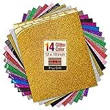 Transwonder Glitter Heat Transfer Vinyl Sheets, 14 Color Asssorted Pre-Cut 12x10in. Bundle, Bonus Teflon for Heat Press Machine or Home Iron for DIY T-Shirts