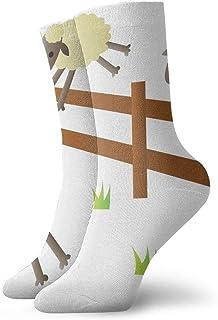 tyui7, Calcetines de compresión antideslizantes de animales de oveja lindos de dibujos animados Calcetines deportivos de 30 cm acogedores para hombres, mujeres, niños