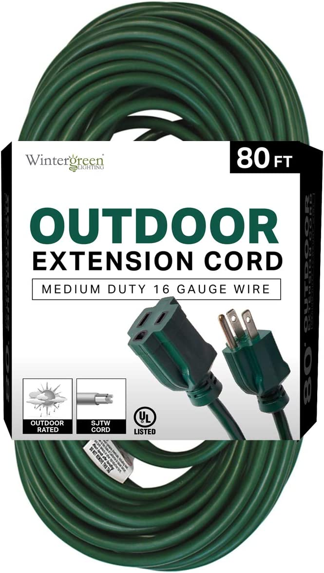 Seasonal Wrap Introduction 16ga Time sale Extension Cord Green Medi UL Listed Outdoor