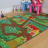 The Rug House Divertida Alfombra para niños, con Animales, Tractores y Vida de la Granja 100cm x 165cm (3ft 3' x 5ft 5')