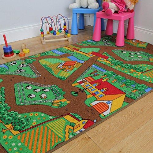 The Rug House Divertida Alfombra para niños, con Animales, Tractores y Vida de la Granja 100cm x 165cm (3ft 3