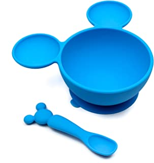 Bumkins Disney Mickey Mouse Suction Silicone Baby Feeding Set, Bowl, Lid, Spoon, BPA-Free, First Feeding, Baby Led Weaning