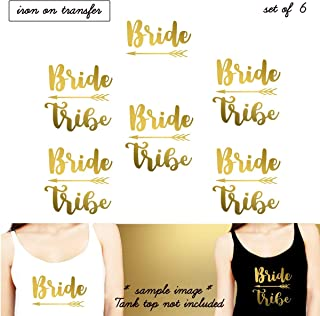 Set 6 Iron on transfer,1- Bride, 5-Bride Tribe, Iron on transfer vinyl, DIY Heat Transfer iron on transfers Bridal Party (#SS)