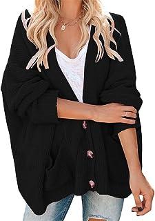 SAIKESIGIRL Womens Oversized Cardigans Batwing Sleeve Chunky Knitted Pocket Sweater