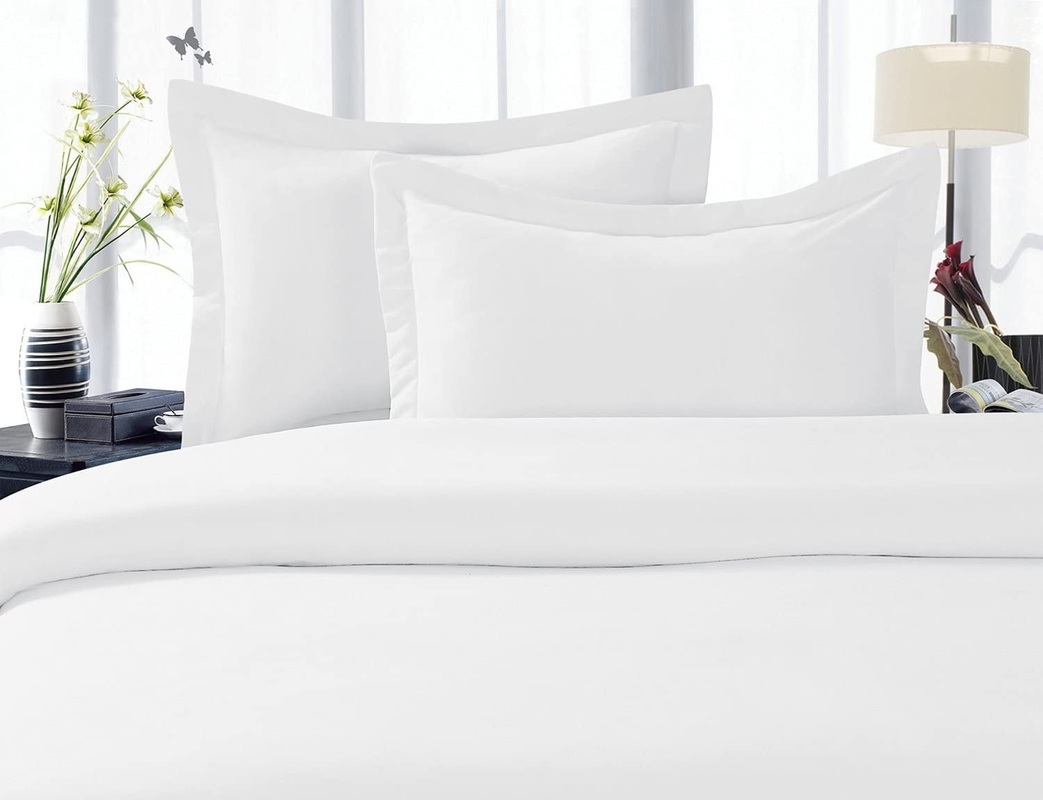 100 % Cotton Solid Tucson Mall White 300 Thread Max 43% OFF Size Count Du 3PC Full Queen
