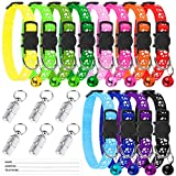 ADXCO 12 Pack Cat Collars with Bells Mixed Colors Safety Release Cat Collars Safe Quick Release Cat Collar Adjustable Cute Kitten Collar with 6 Pack Anti-lost Tags for Cats or Small Dogs