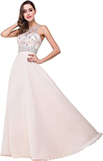 Women's Long Prom Dresses Scoop Neckline Beaded A Line Evening Gowns