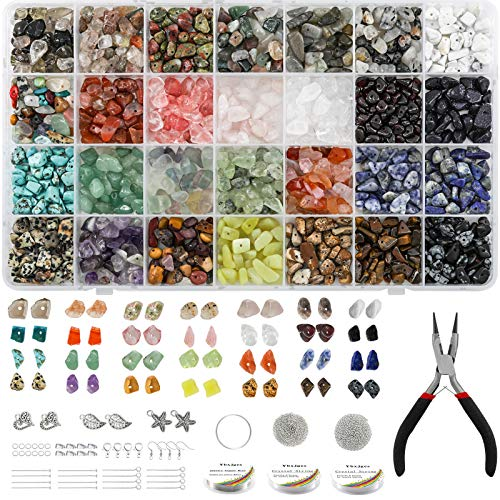 Ybxjges1330 pcs Irregular Crystal Chips Stone Beads Natural Gemstone Beads Kit with Jump Rings Earring Hooks Pendants Charms Elastic String for DIY Bracelet Necklace Earring Jewelry Making Supplies