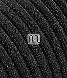 Câble électrique rond Rond recouvert de tissu coloré fils brut noir 2x 0,75pour lustres, lampes, abat jour, Design....