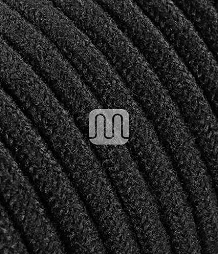 Cable eléctrico redondo revestido de tela de color hilo en bruto negro...