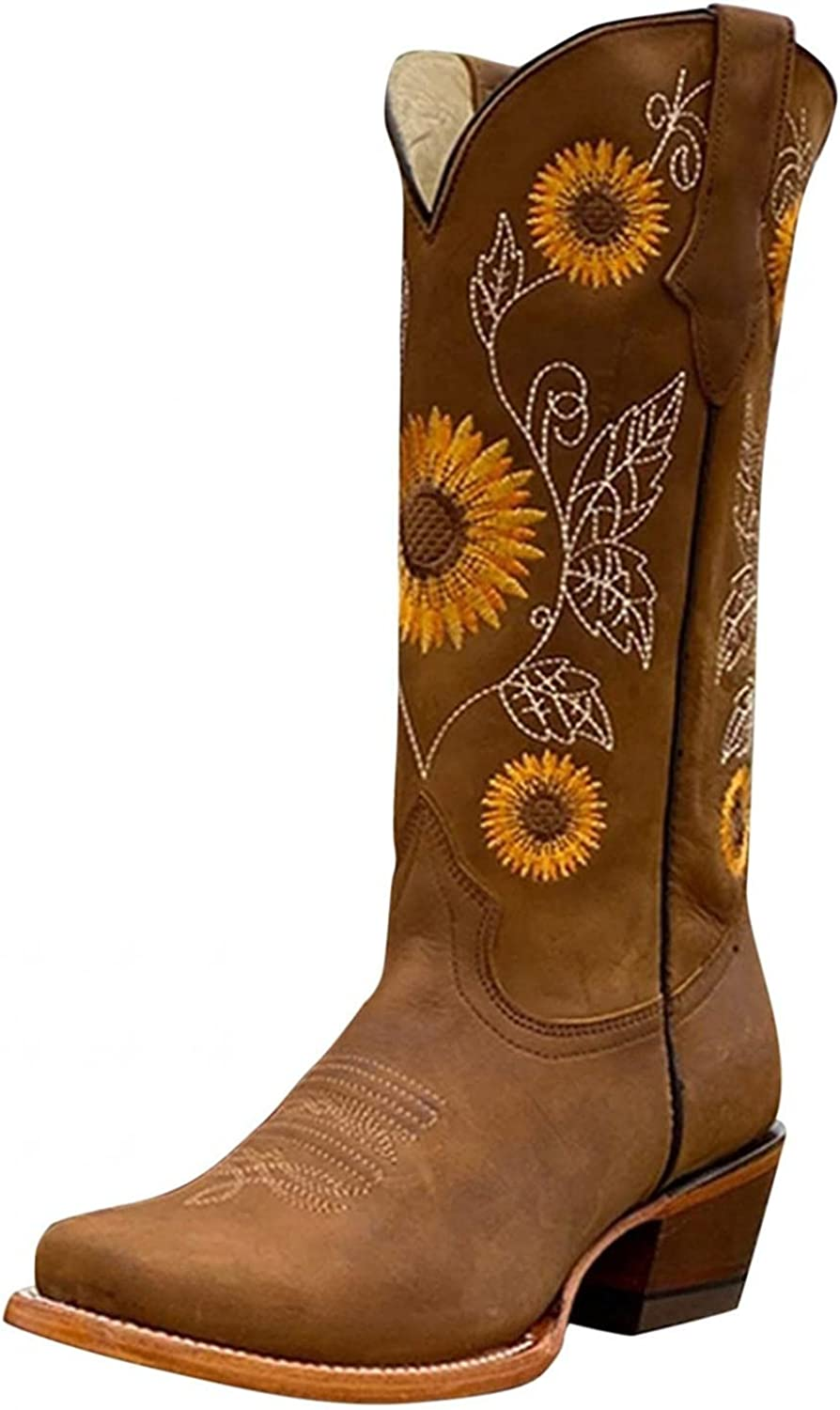 TAYBAGH Boots for Women, Womens Fashion Printed Square Low Heeled Cowgirl Western Boots Casual Pointed Toe Ankle Booties