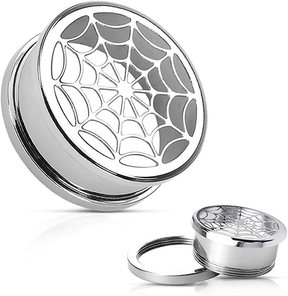 Covet Jewelry Hollow Spider-Web Screw Fit Tunnel 316L Surgical Steel