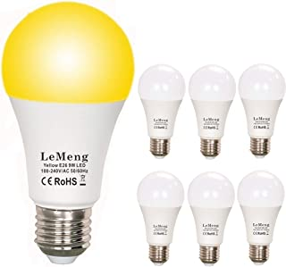 LeMeng Yellow Bug Light Bulbs 9W, A19 LED Sleep Aid Bulb Amber Night Lights 2000K, 75watts Halogen Equivalent, E26 Medium Base Porch Light 120V, Not Dimmable for Hallway Holiday Party(6 Pack)