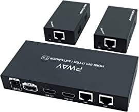 HDMI Extender Splitter 1 to 2 Over Ethernet Cable Cat5e / Cat6 / Cat7 Up to 50M (165Ft) 1080P@60Hz AV Signals Lossless Transmission with 2 HDMI Loopout Support EDID & POC