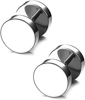 BlackAmazement Lot de 2 boucles doreilles en acier inoxydable 316L avec symbole Yin Yang Taijitu Noir//blanc
