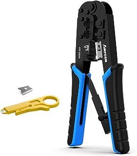 AMPCOM RJ45 Crimping Tool, 8P/6P-RJ11, RJ12 Crimper Cutter Stripper AM-568R