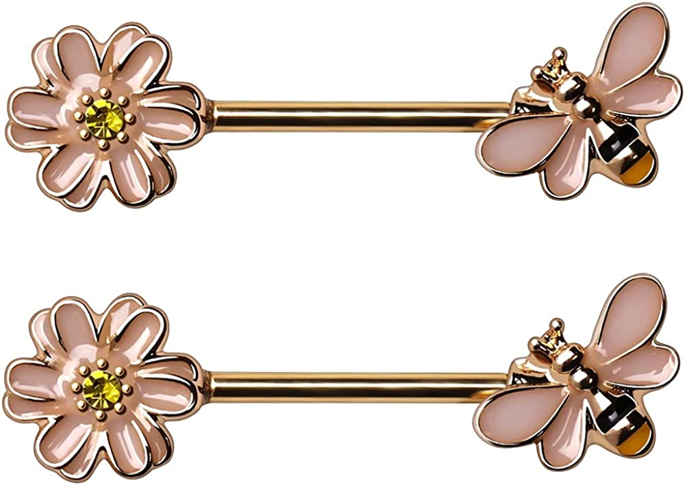 14GA Gold Plated Stainless Steel Pink Bee and Flower Nipple Barbells, Sold as a Pair