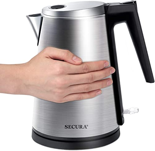lowest Secura Double Wall Stainless Steel Electric online sale Kettle Water Heater for Tea wholesale Coffee w/Auto Shut-Off and Boil-Dry Protection, 1.5L/1.6Qt sale