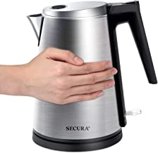 Secura Double Wall Stainless Steel Electric Kettle Water Heater for Tea Coffee w/Auto..