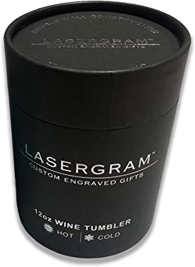 LaserGram Double Wall Stainless Steel Wine Glass Tumbler, Howling Wolf, Personalized Engraving Included (Purple)