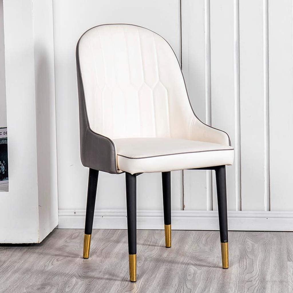 Chaise WGZ de Salle, de Bureau Simple, créative Dossier, Loisirs, Maison Adulte de Salle Simple (Color : Brown) Gray-white