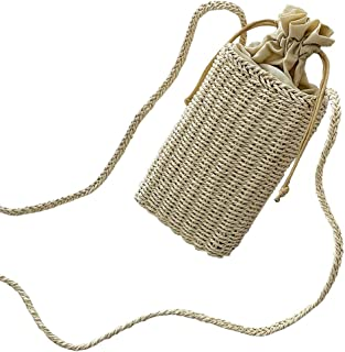 TOOGOO Bucket Cylindrical Straw Bags Bow Wheat-Straw Woven Women Crossbody Bags Shoulder Tote Bag String Khaki