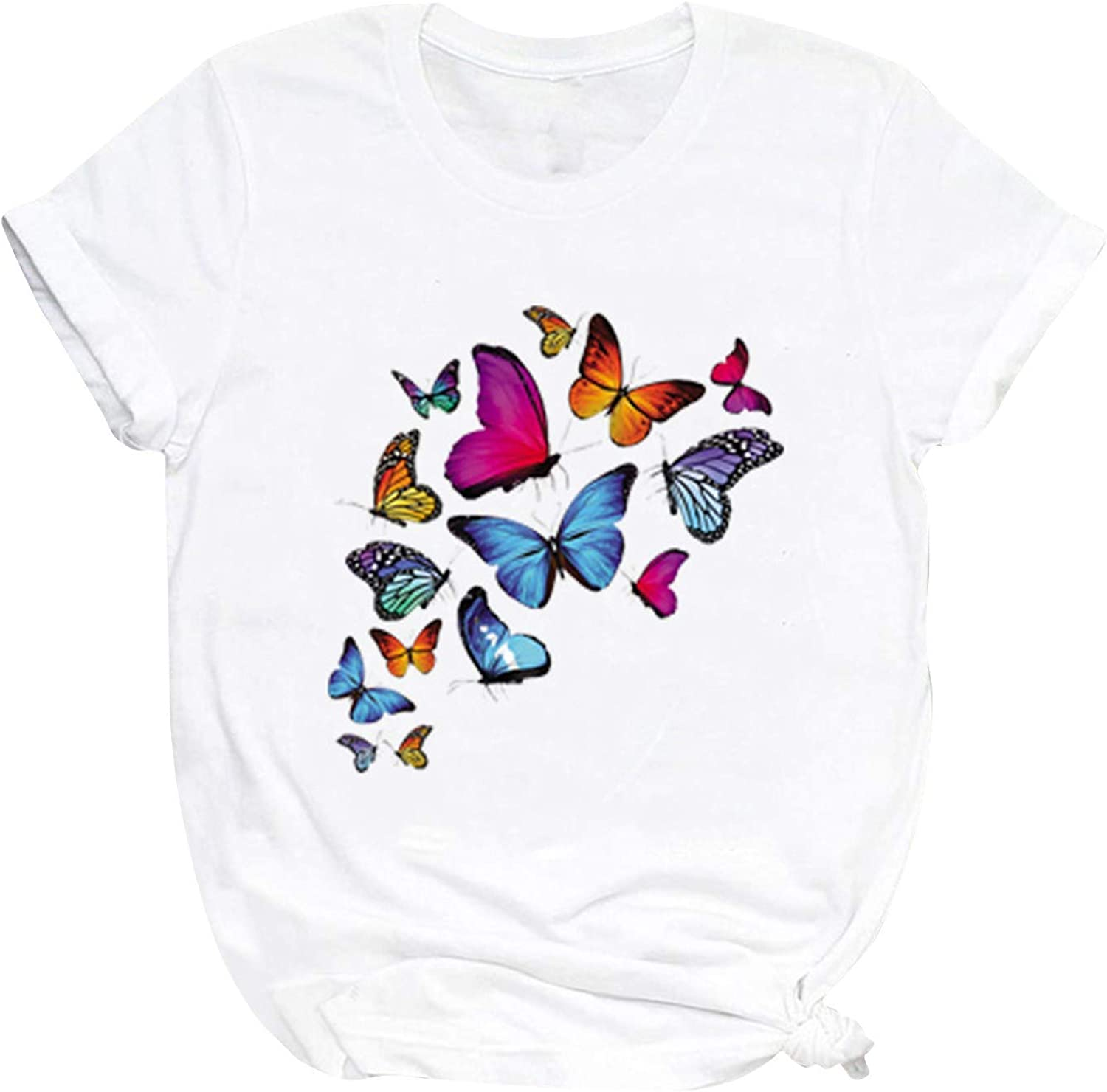 Womens Short Sleeve Tops, naioewe Butterfly Print Shirts for Women O-Neck T Shirt Short Sleeve Blouses Tops Graphic Tees