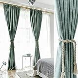 Algodón y lino + Blanca hilo verdunklungs cortinas Gris y Verde cortinas opaca con ojales para dormitorio salón restaurante Balcón 2 unidades, 245 cm x 140 cm (H x B), 2 unidades)