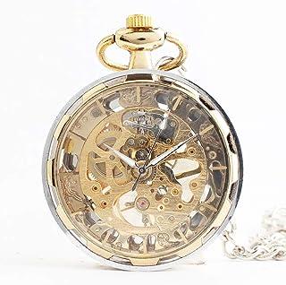 Mechanical Pocket Watch Vintage Gothic Gold Dial Mechanical Skeleton Pocket Watch with Chain