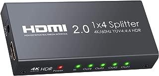 eSynic HDMI分配器 1入力4出力 HDMI2.0 4K@60hz HDR Xbox One X PS4 Pro skybox Bule-ray HDTV プロジェクター対応