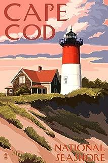 Cape Cod National Seashore, Massachusetts - Nauset Light and Sunset (12x18 Art Print, Wall Decor Travel Poster)