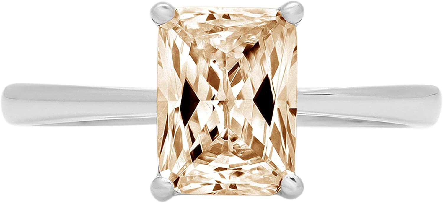 2.05 ct Brilliant Emerald Cut Solitaire VVS1 Conflict free Yellow Moissanite 4-Prong Stunning Classic Statement Designer Ring Solid 18K White Gold for Women