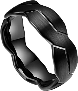 DOUX 8mm Mens Black/Silver Tungsten Carbide Ring Brushed Infinity Knot Pattern Wedding Band Comfort Fit High Polished