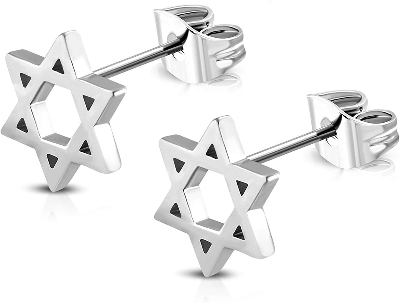 SAE99 Stainless Steel Star of David Stud Earrings
