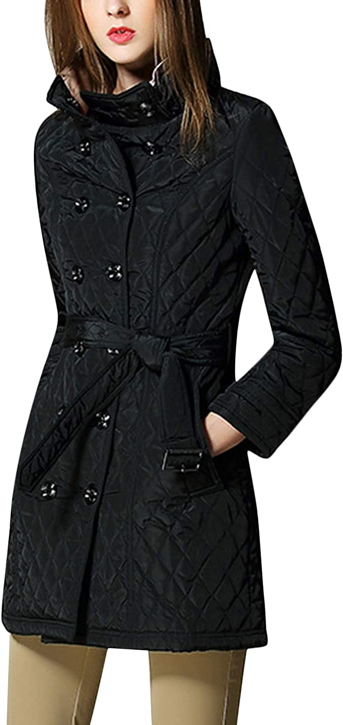 Uaneo Women's Winter Diamond Quilted Warm Jacket Coat Outerwear (Black, Small)