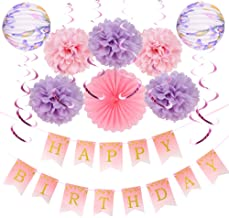 Easy Joy Girls Happy Birthday Decoration Kit Tissue Paper Pom Poms Accordion Lanterns with Rainbow Foil Hanging Swirls Pink Party Supplies
