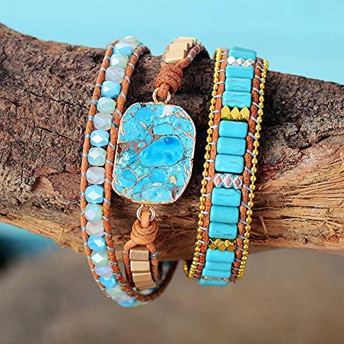 HaiFiy Multilayers Mujeres de Cuero Envoltura Pulseras con Turquesa Rhinestone Beaded 3X Pulsera Boyry Jewelry Joyas novedosas Navidad