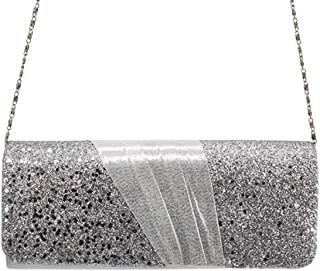HUIfenghe Satin Stitching Glitter Ladies Party Bag Fashion European and American Style Clutch Bag Silver Gold Black Size: 24.5 * 10 * 5cm (Color : Silver)