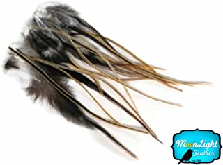 Hair Feathers ; 12 Pieces - GOLDEN BADGER Short Rooster Hackle Hair Feathers